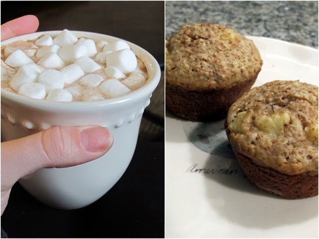 muffins and hot chocolate